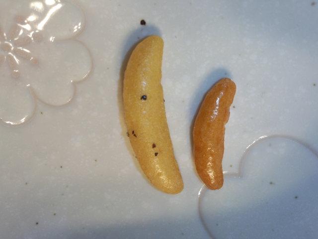 確かに1粒が大きい(右は通常の亀田の柿の種)